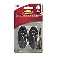 3M Command Grey Slate effect Plastic Hooks, Pack of 2
