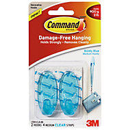 3M Command Blue Plastic Hooks, Pack of 2