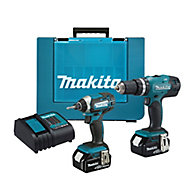 Makita LXT 4A Li-ion Combi drill & impact driver kit 2 batteries DHP453 & DTD152