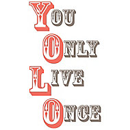 Wallpops You only live once Multicolour Self-adhesive Wall sticker (H)320mm (W)340mm