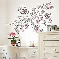 Cherry blossom Multicolour Self-adhesive Wall sticker (H)990mm (W)1320mm
