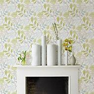 Wallpops Meadow Green & grey Peel & stick wallpaper (L)5500mm (W)520mm