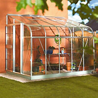 B&Q Premier Metal 8x6 Horticultural glass Lean-To greenhouse