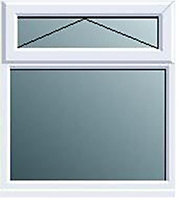 White PVCu Top hung over fixed lite Window (H)1120mm (W)905mm