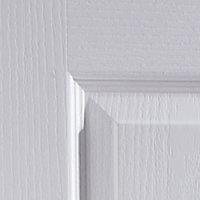 4 Panel Primed White Woodgrain Internal Door, (H)1981mm (W)610mm