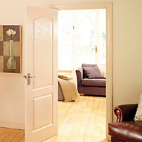 2 panel Arched Pre-painted White Woodgrain effect LH & RH Internal Door, (H)1981mm (W)686mm