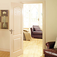2 panel Arched Pre-painted White Woodgrain effect LH & RH Internal Door, (H)1981mm (W)610mm