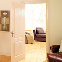 2 Panel Arched Pre-painted White Woodgrain Internal Door, (H)1981mm (W)762mm