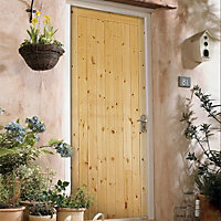 1 panel Unglazed Traditional Knotty pine External Front Door, (H)1981mm (W)762mm