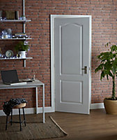 2 panel Arched Primed White Woodgrain effect LH & RH Internal Door, (H)1981mm (W)762mm