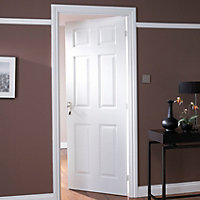 6 Panel Primed White Woodgrain Effect Internal Door, (H)2040mm (W)726mm