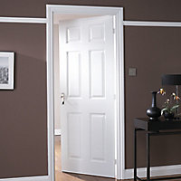 6 panel Pre-painted White Woodgrain effect LH & RH Internal Door, (H)1981mm (W)686mm