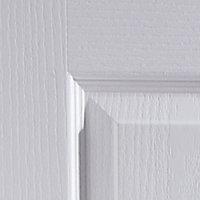 4 panel Primed White Woodgrain effect LH & RH Internal Door, (H)1981mm (W)762mm