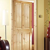 4 Panel Knotty pine Internal Standard Door, (H)1981mm (W)610mm