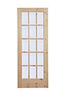Fully glazed 15 Lite Knotty pine Internal Door, (H)1981mm (W)686mm