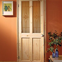 4 Panel Knotty pine Internal Standard Door, (H)1981mm (W)838mm