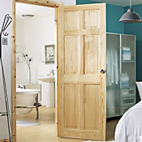 6 Panel Clear pine Internal Door, (H)1981mm (W)762mm