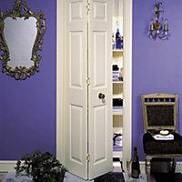 6 panel Primed White Woodgrain effect Internal Bi-fold Door set, (H)1950mm (W)595mm