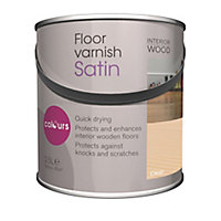Colours Clear Satin Floor Wood varnish, 2.5L