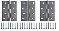 Steel Butt Door hinge (L)100mm, Pack of 3