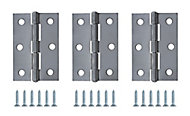Chrome-plated Steel Butt Door hinge (L)75mm, Pack of 3