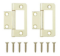 Brass effect Metal Flush hinge, Pack of 2