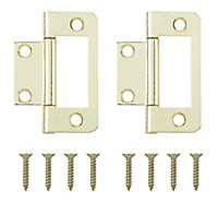 Brass-plated Metal Flush Door hinge (L)50mm, Pack of 2