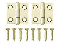Brass-plated Metal Butt Door hinge (L)25mm, Pack of 2