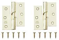 Brass-plated Metal Butt Door hinge (L)75mm, Pack of 2