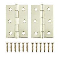 Lightweight Brass effect Metal Butt hinge, Pack of 2