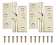 Brass-plated Metal Butt Door hinge (L)75mm, Pack of 2