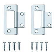 Zinc effect Metal Flush hinge, Pack of 8