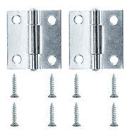 Lightweight Zinc effect Metal Butt hinge, Pack of 2