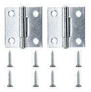 Zinc-plated Metal Butt Door hinge (L)38mm, Pack of 2
