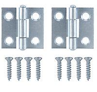 Zinc-plated Metal Butt Door hinge (L)25mm, Pack of 2