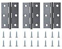 Steel Butt Door hinge (L)75mm, Pack of 3