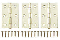 Brass effect Metal Loose pin Butt hinge, Pack of 3
