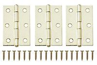 Brass-plated Metal Butt Door hinge (L)75mm, Pack of 3