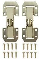 Brass effect Metal Lay on Sprung hinge, Pack of 2