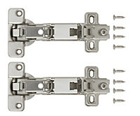 Nickel-plated Metal Concealed hinge (L)35mm, Pack of 2
