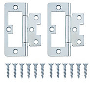 Zinc-plated Metal Flush Door hinge (L)75mm, Pack of 2