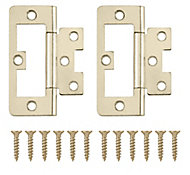 Brass-plated Metal Flush Door hinge (L)75mm, Pack of 2