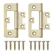 Brass-plated Metal Flush Door hinge (L)65mm, Pack of 8