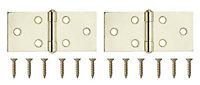 Brass-plated Metal Backflap Door hinge (L)38mm, Pack of 2