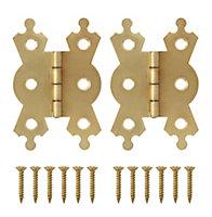 Brass-plated Metal Flush Door hinge (L)50mm, Pack of 2