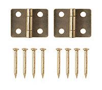 Brass-plated Metal Butt Door hinge (L)13mm, Pack of 2