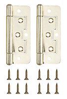 Brass-plated Metal Flush Door hinge (L)100mm, Pack of 2