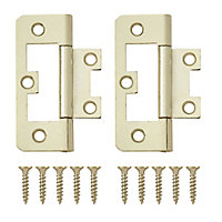 Brass-plated Metal Flush Door hinge (L)65mm, Pack of 2