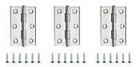 Stainless steel Butt Door hinge (L)75mm, Pack of 3