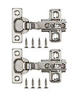 Nickel-plated Metal Sprung Concealed hinge (L)26mm, Pack of 2